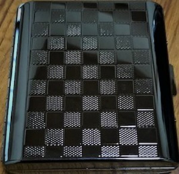 画像1: シガレットケース18(85mm)チェッカーBKニッケル (1)